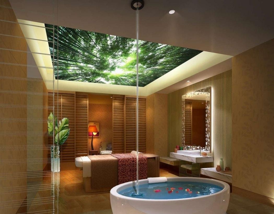 дизайн потолка ванны